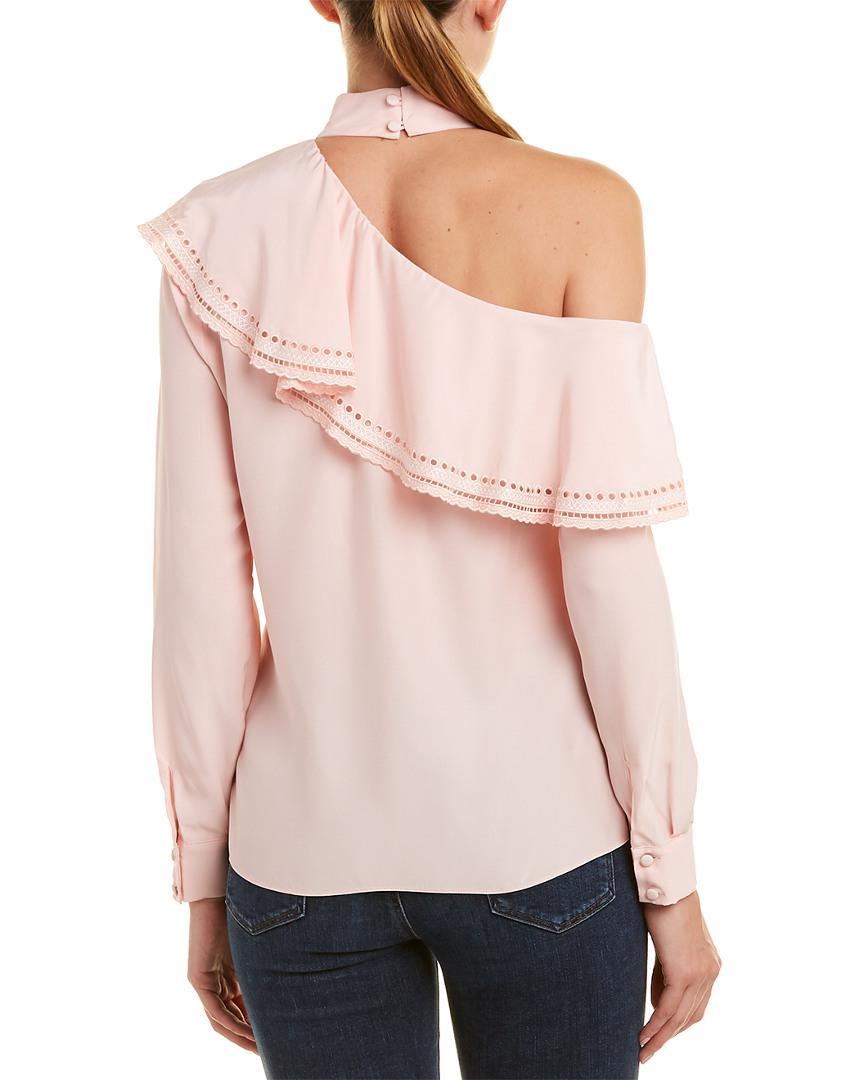 f0f2f7d98eb607 Lyst - Parker Bellini Silk Blouse in Pink