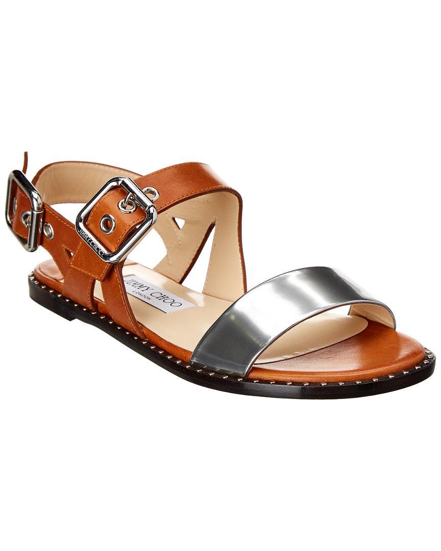 281959ac6827 Jimmy Choo Astrid Metallic Leather Flat Sandal in Metallic - Save ...