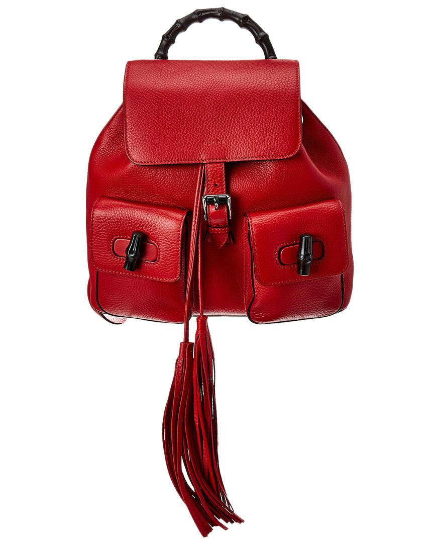 bbc3ef9fdba8 Lyst - Gucci Red Leather Bamboo Backpack in Red