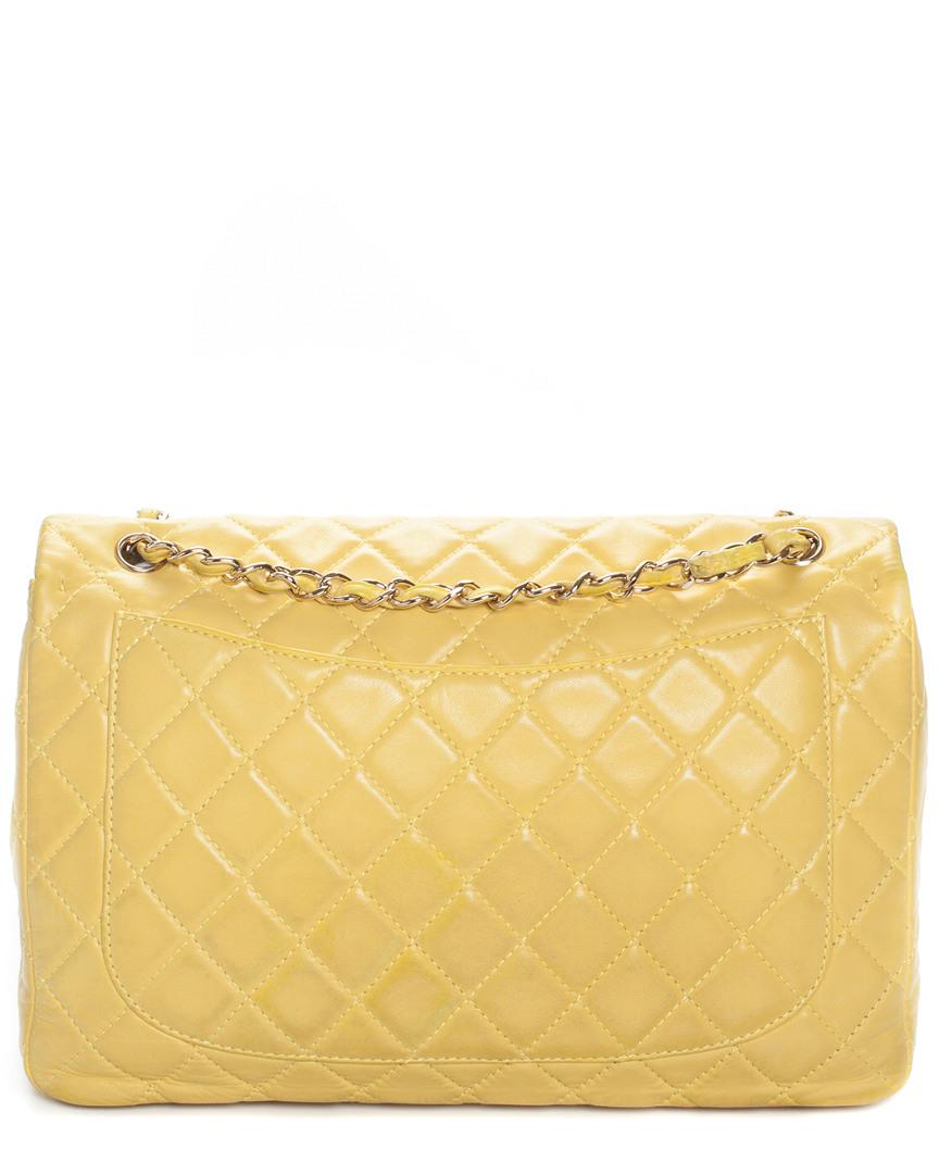 dcfdba5746b7 Chanel Yellow Quilted Leather Classic Maxi Single Flap Bag in Yellow - Save  11% - Lyst
