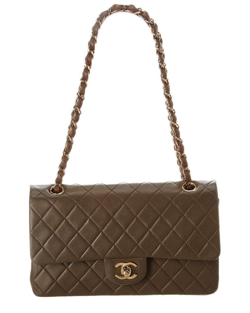 1273849b413da2 Lyst - Chanel Brown Quilted Lambskin Leather Medium Double Flap Bag ...