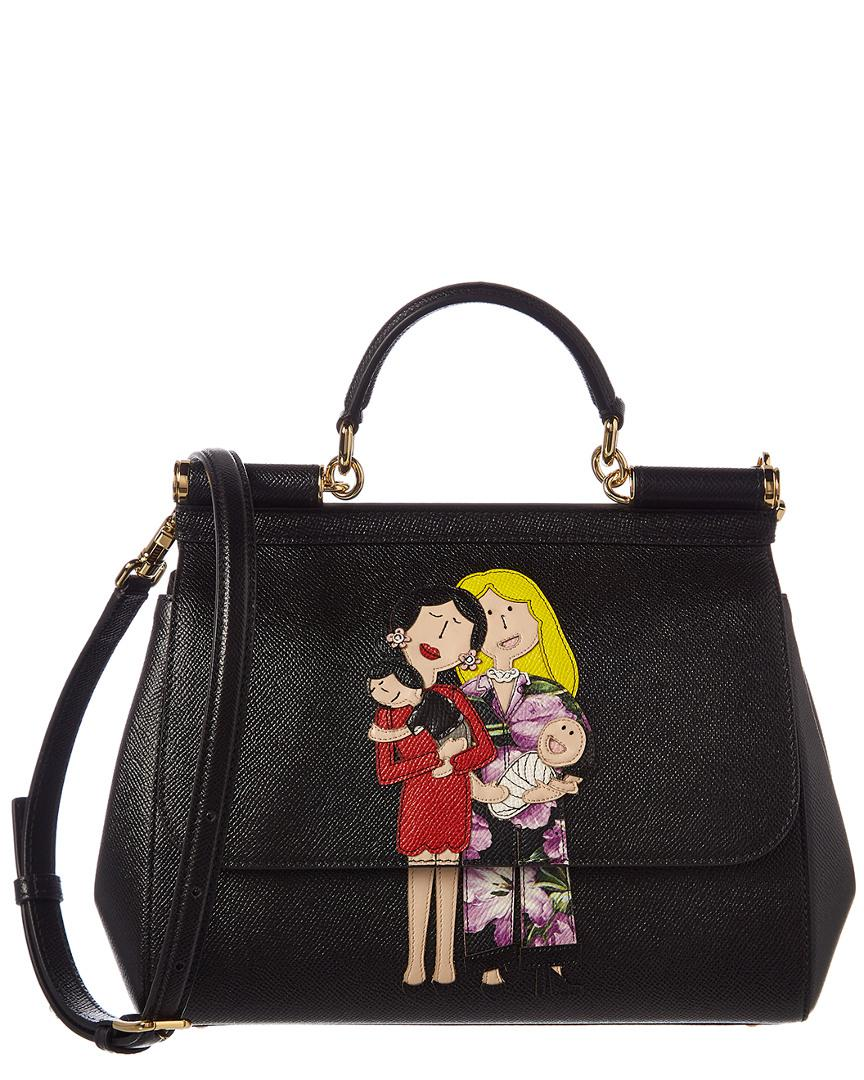 Dolce   Gabbana Family Patch Sicily Leather Shoulder Bag in Black - Lyst 4d57bdbb0dae9