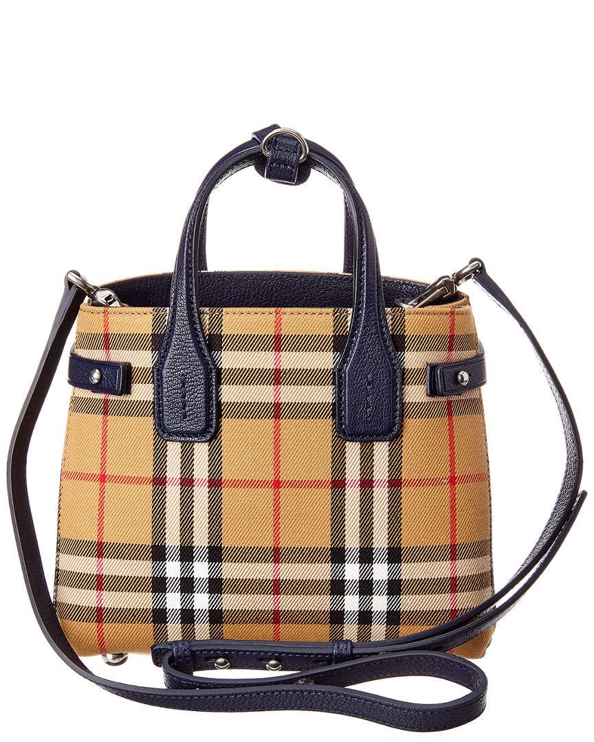 5ce3375395d Lyst - Burberry Baby Banner Vintage Check & Leather Shoulder Bag in Blue -  Save 20%