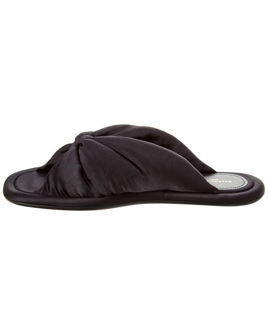 c3ceea085e7da Lyst - Balenciaga Satin Slide Sandal in Black