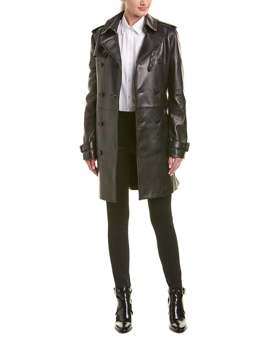 c207c621a33 Saint Laurent - Black Belted Leather Trench Coat - Lyst. View fullscreen