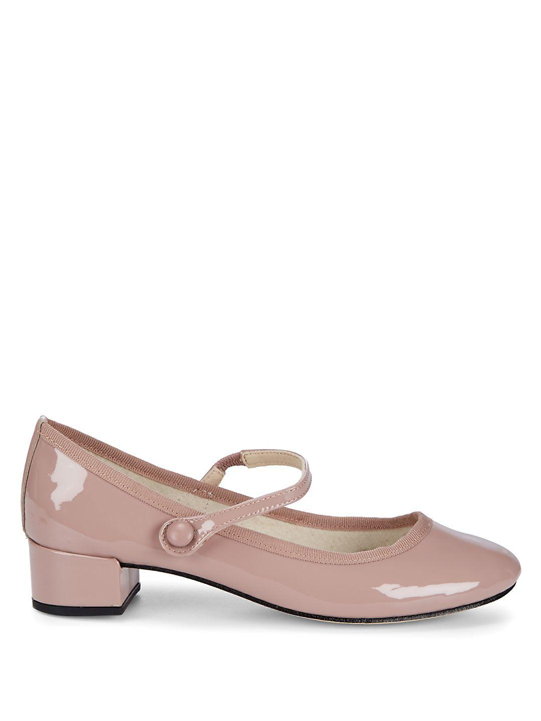Repetto - Natural Heeled Leather Mary Jane - Lyst. View fullscreen