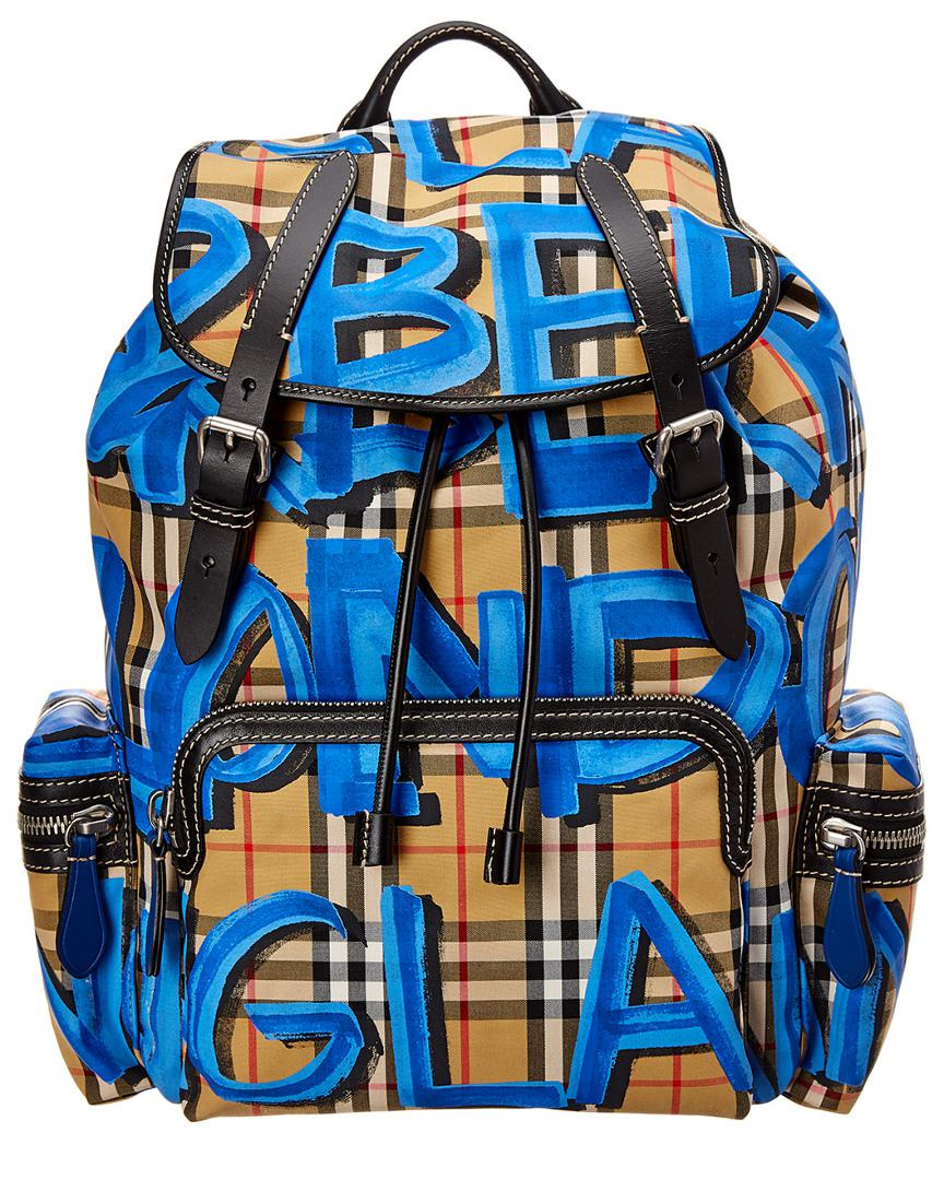 Burberry - Blue Graffiti Print Vintage Check Large Rucksack for Men - Lyst.  View fullscreen dee4ede694