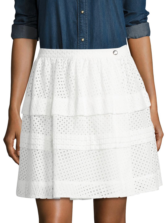 8918bb39b IRO Tiered Eyelet Skirt in White - Lyst