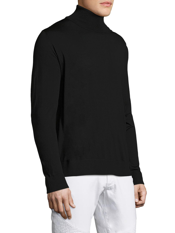 Prada Wool Solid Turtleneck Sweater in Black for Men | Lyst