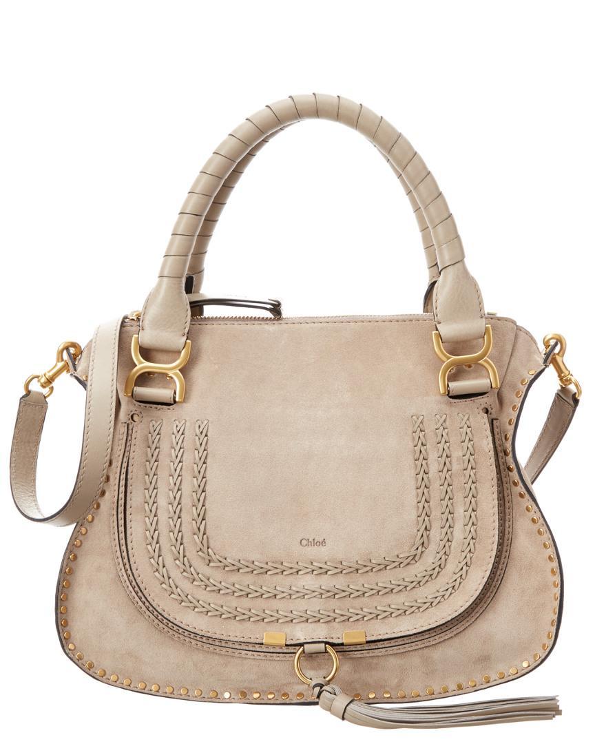 Lyst - Chloé Marcie Braided Suede Calfskin Shoulder Bag in Gray a27a2d13e7