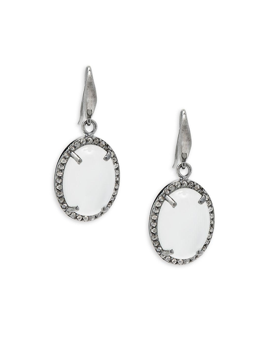 Bavna Black Diamond & Moonstone Hoop Drop Earrings iWtrXm0