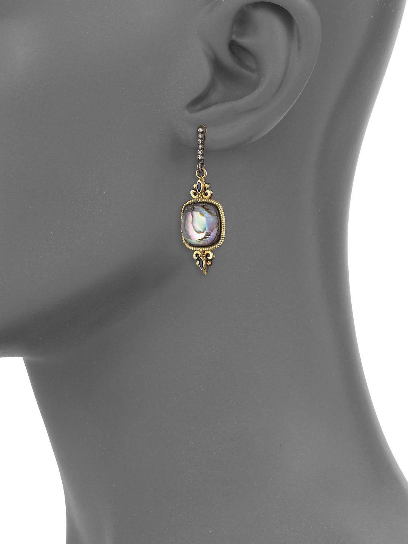 Gold Diamond Fleur De Lis Drop Earrings Lyst View Fullscreen