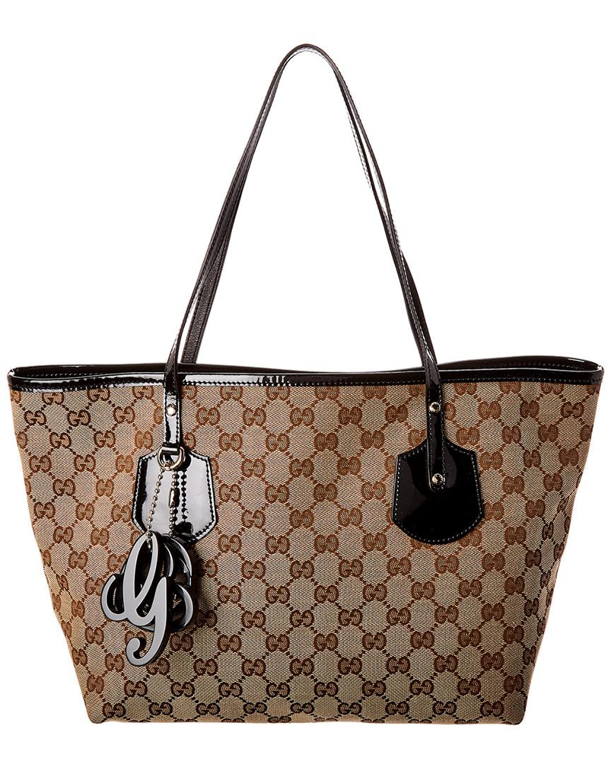c0911a947467 Gucci. Women s Black GG Canvas   Leather Jolie Tote