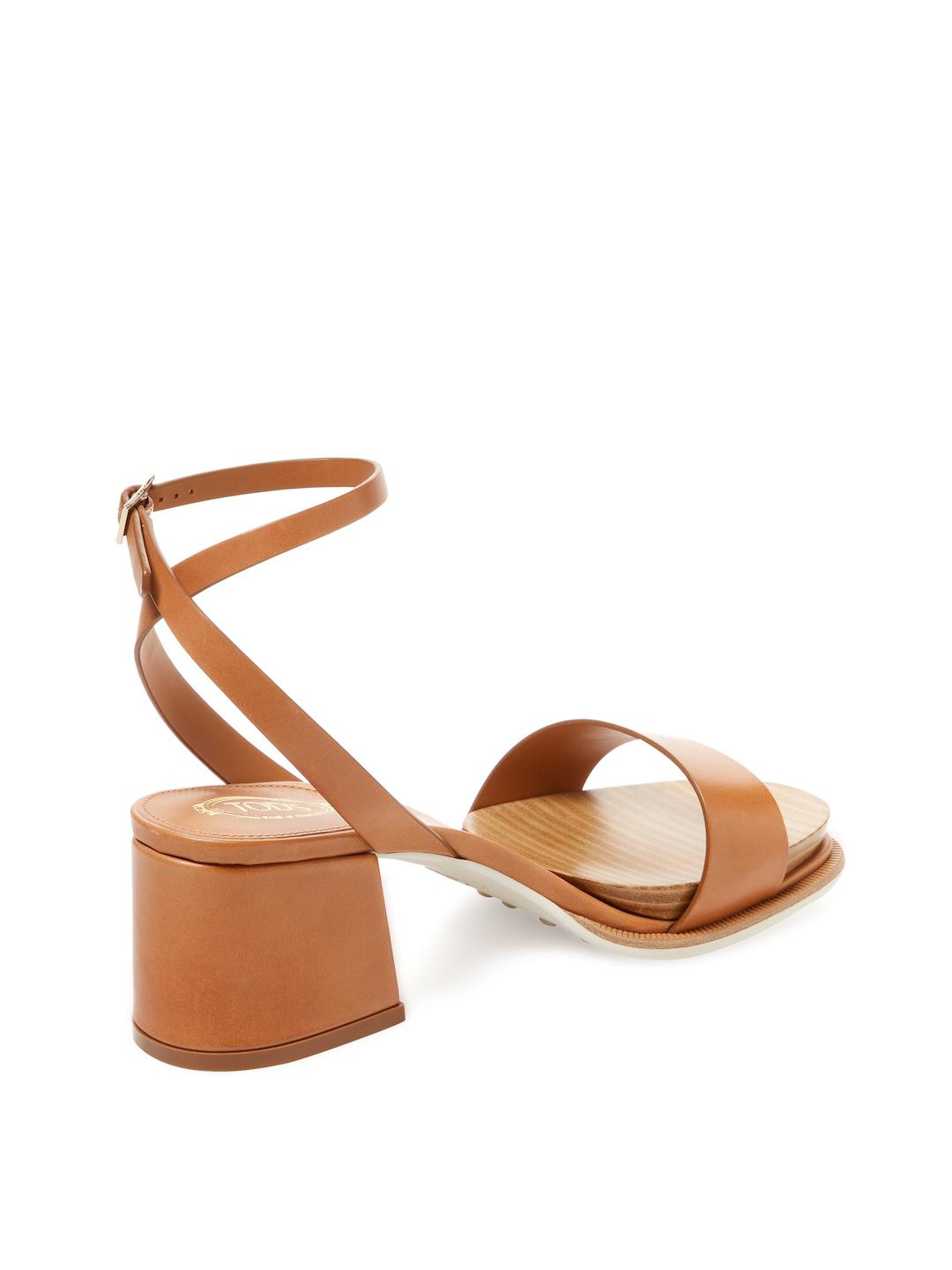 09baa0322c5b6 Lyst - Tod s Leather Block Heel Sandal in Brown