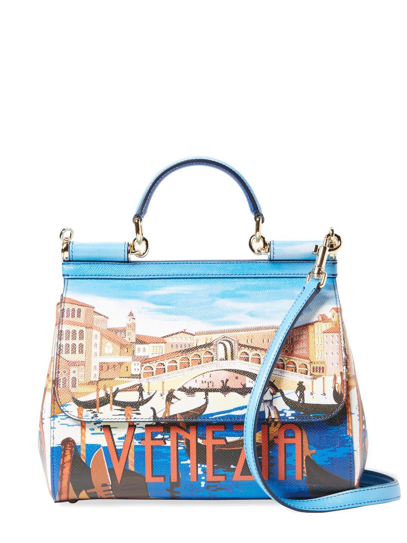 f316685b44 Lyst - Dolce   Gabbana Sicily Medium Printed Leather Satchel in Blue