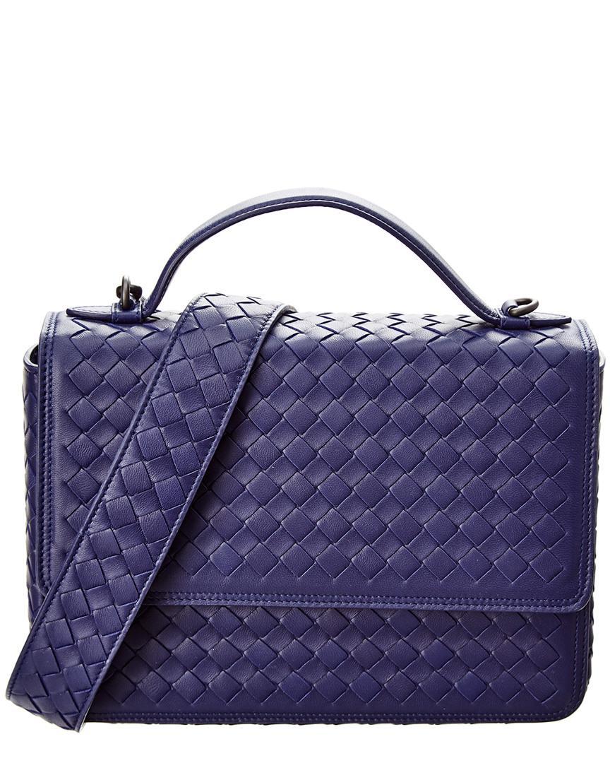 Bottega Veneta. Women s Blue Alumna Intrecciato Leather Top Handle Shoulder  Bag dff0bfaecd