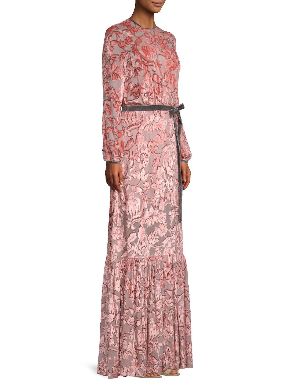 447a0595fe81 Lyst - Alexis Felice Velvet Burnout Gown in Pink