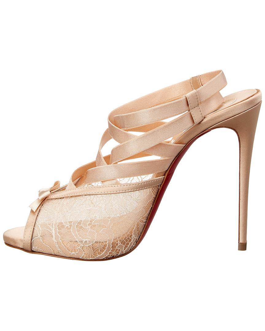5eeb4901ba66 Lyst - Christian Louboutin Nouba 120 Satin   Lace Sandal in Pink