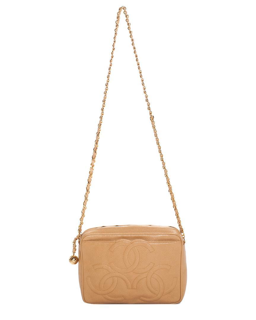 d53ae766705b Chanel. Women s Vintage Tan Caviar Leather Cc Camera Bag