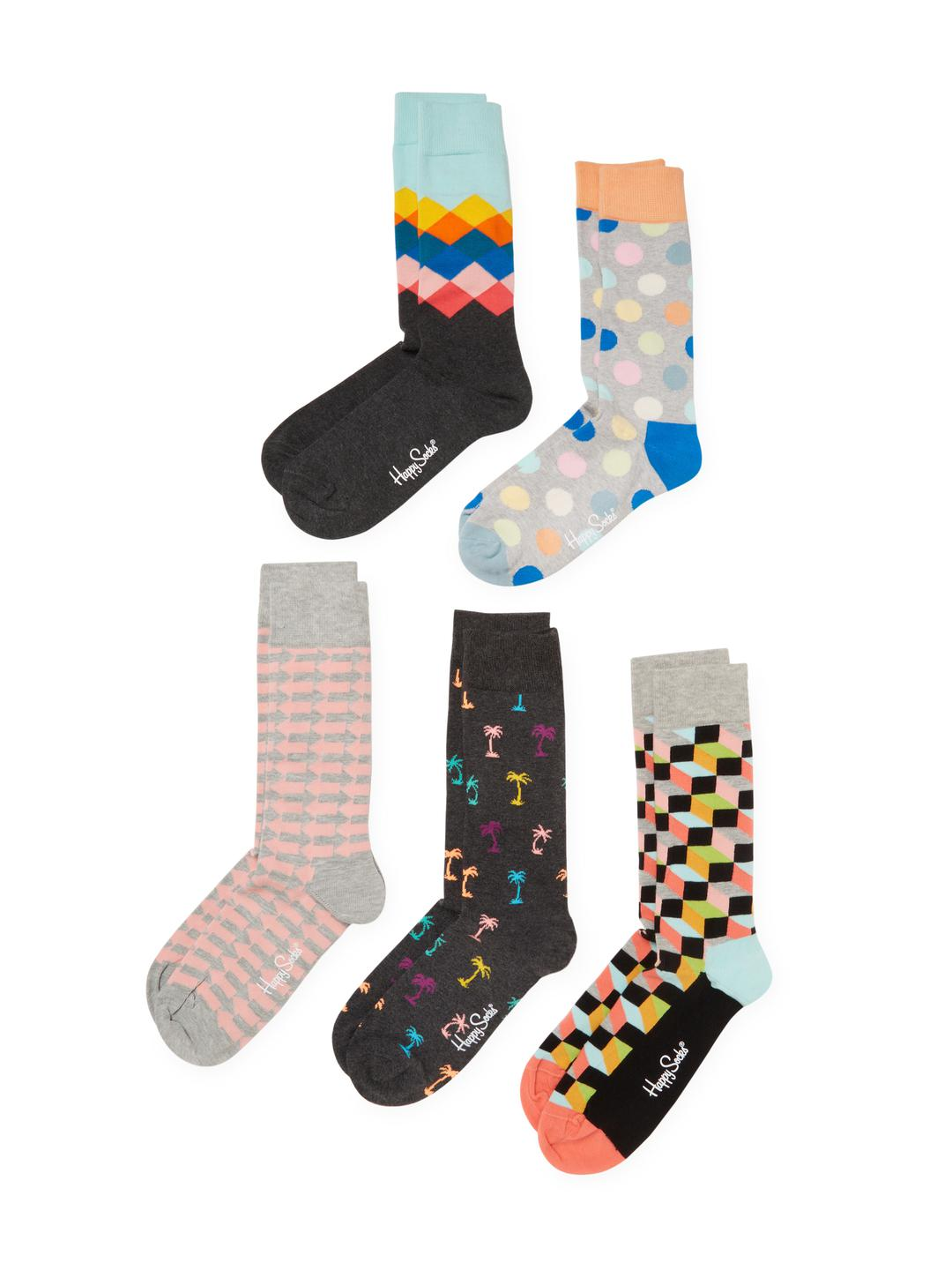 Lyst Happy Socks Palm Trees Geometric Print Socks 5 Pk For Men