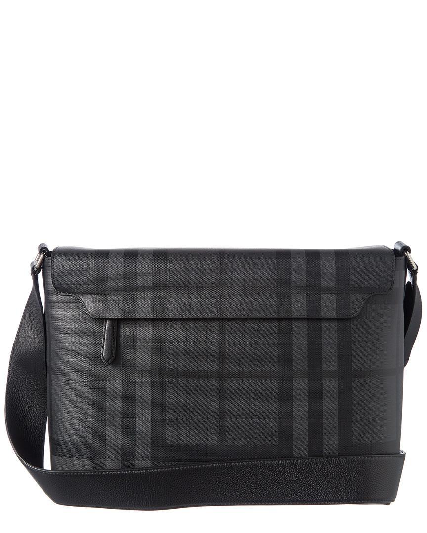 Lyst - Burberry Large Logo Print Leather Messenger Bag in Gray for Men 6c7df24e15978