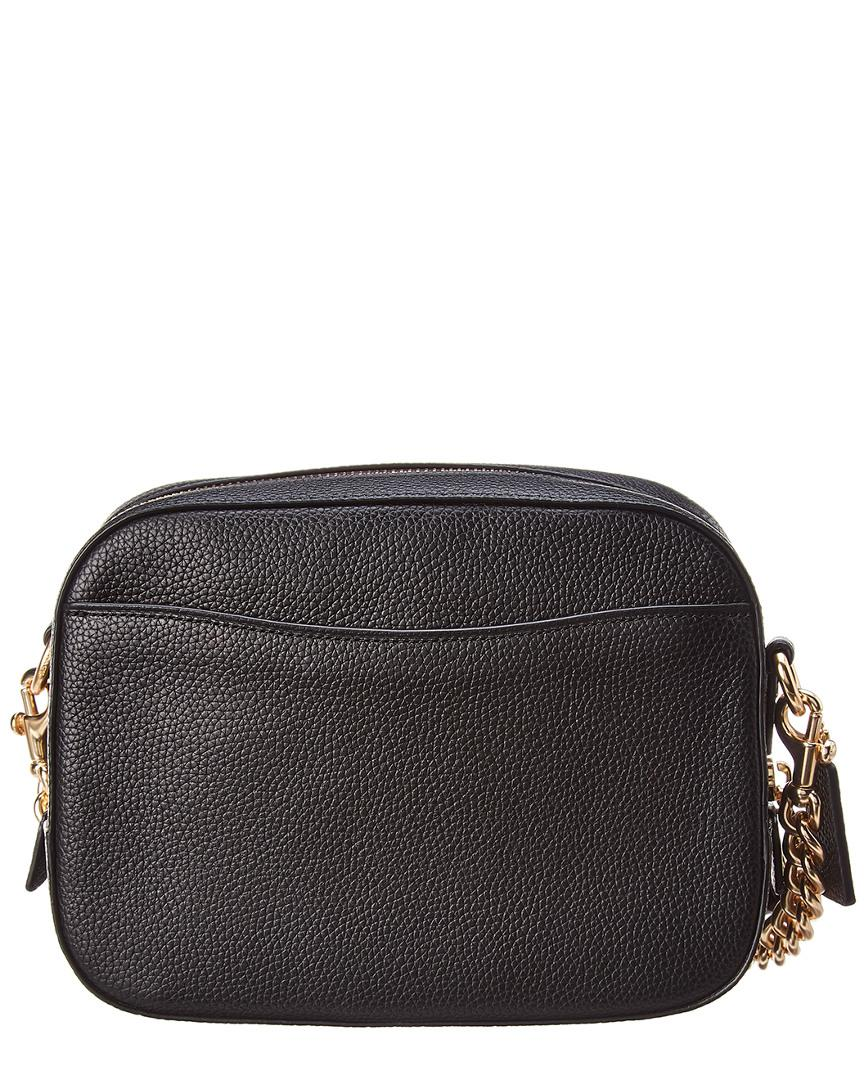 Lyst - COACH Pebbled Leather Camera Bag in Black 5ba39b390365a