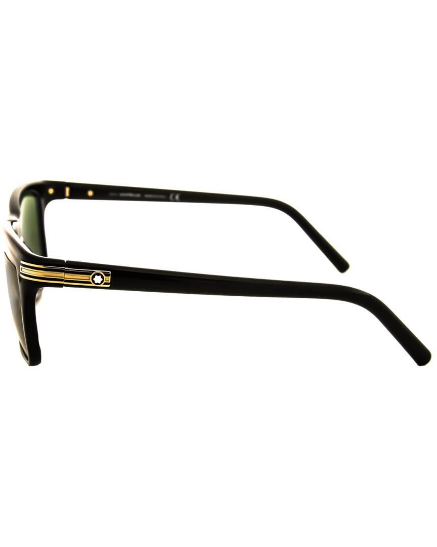 6526a90a53 Montblanc - Green Mont Blanc Men s Mb502s Sunglasses for Men - Lyst. View  fullscreen