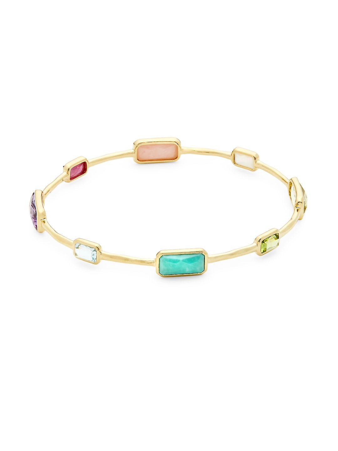 Ippolita 18k Gold Rock Candy 10-Stone Bangle in Desert Sky UMlBLSzUm
