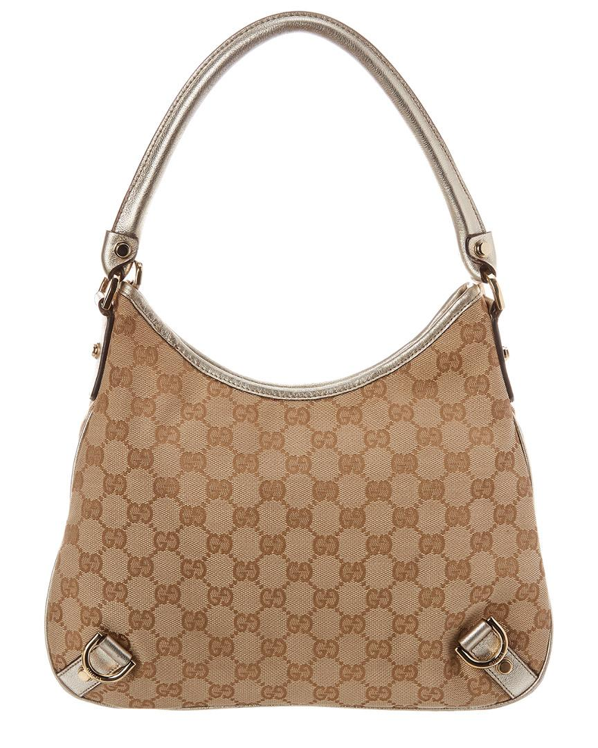 a4d5e57e933a Image Unavailable. Image not available for. Color: Gucci Women's Black GG  Print Canvas Leather Trimmed Abbey Pocket Tote Bag .