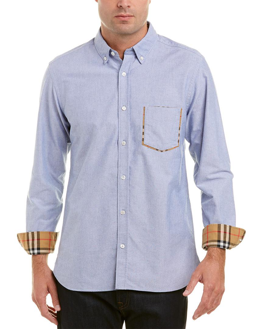 0e0dc2a22249 Burberry Classic Check-point Cotton Oxford Shirt in Blue for Men - Lyst