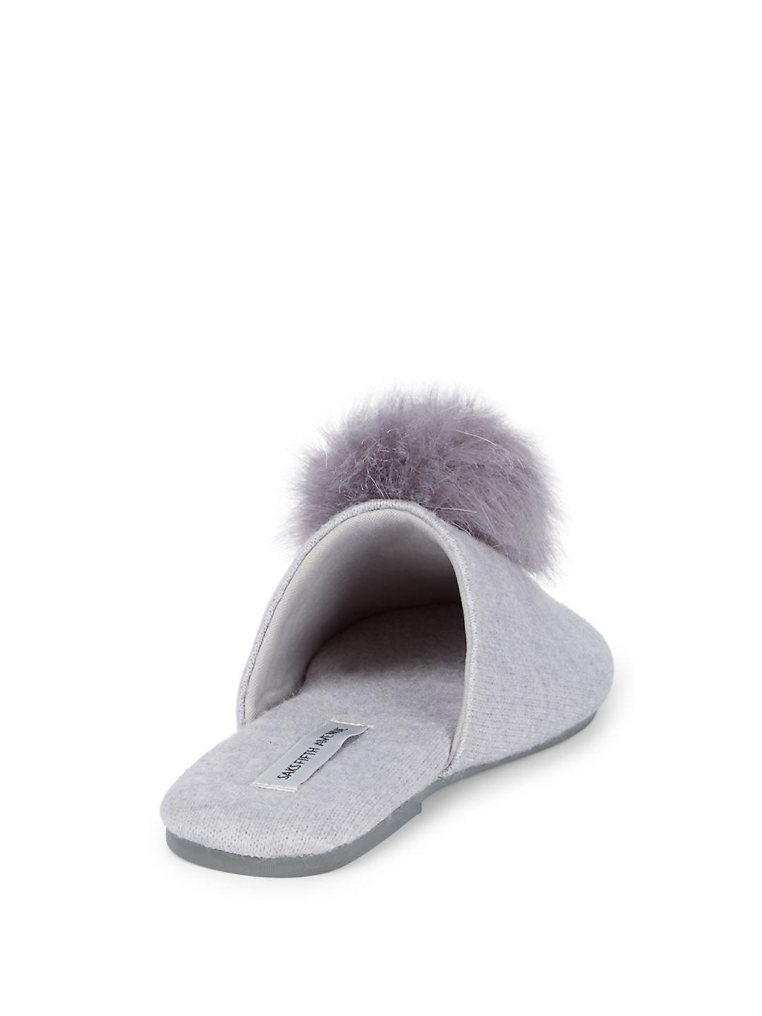 4a8cbc0782b Lyst - Saks Fifth Avenue Faux Fur Pom Slippers