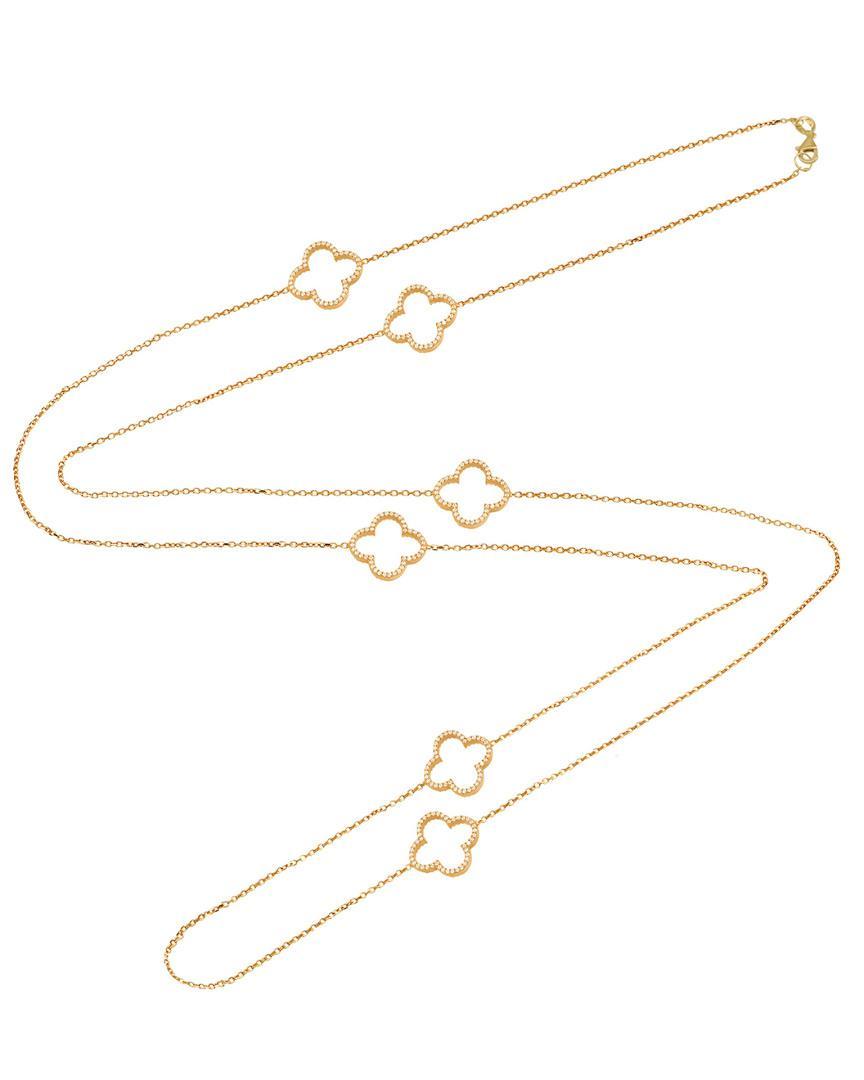 499768e5d Lyst - Gabi Rielle 22k Over Silver Cz Open Clover Necklace in Metallic