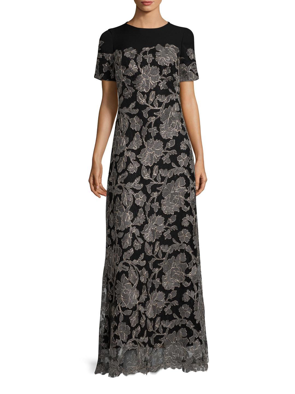 Tadashi Shoji. Women's Black Sabi Embroidered Lace Gown