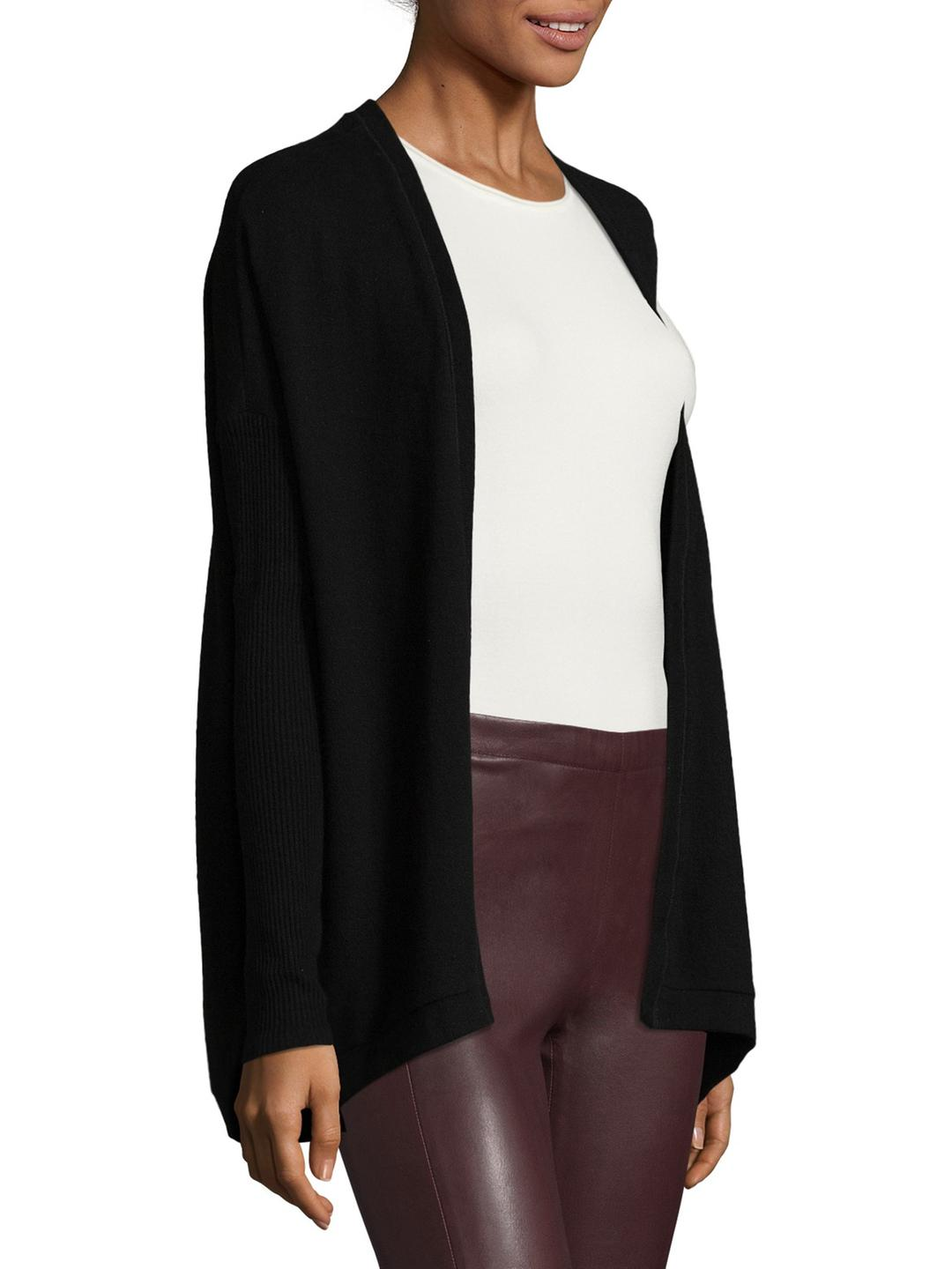 Three dots Ribbed Solid Cardigan in Black | Lyst
