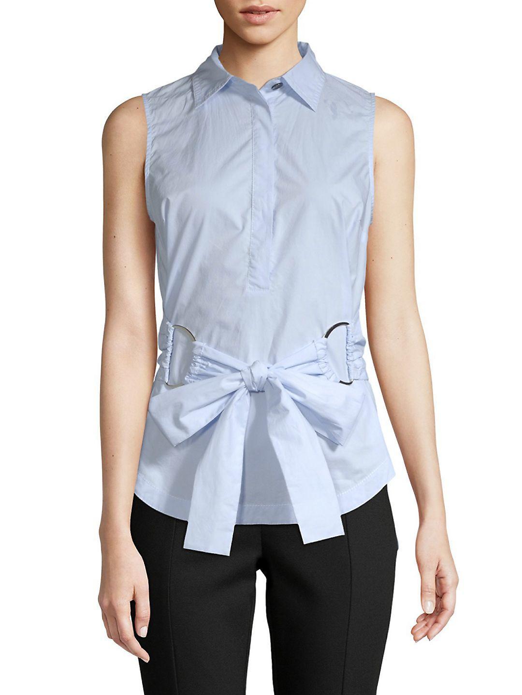 e3e60ba452479 Lyst - Derek Lam Front-tie Sleeveless Cotton Top in Blue