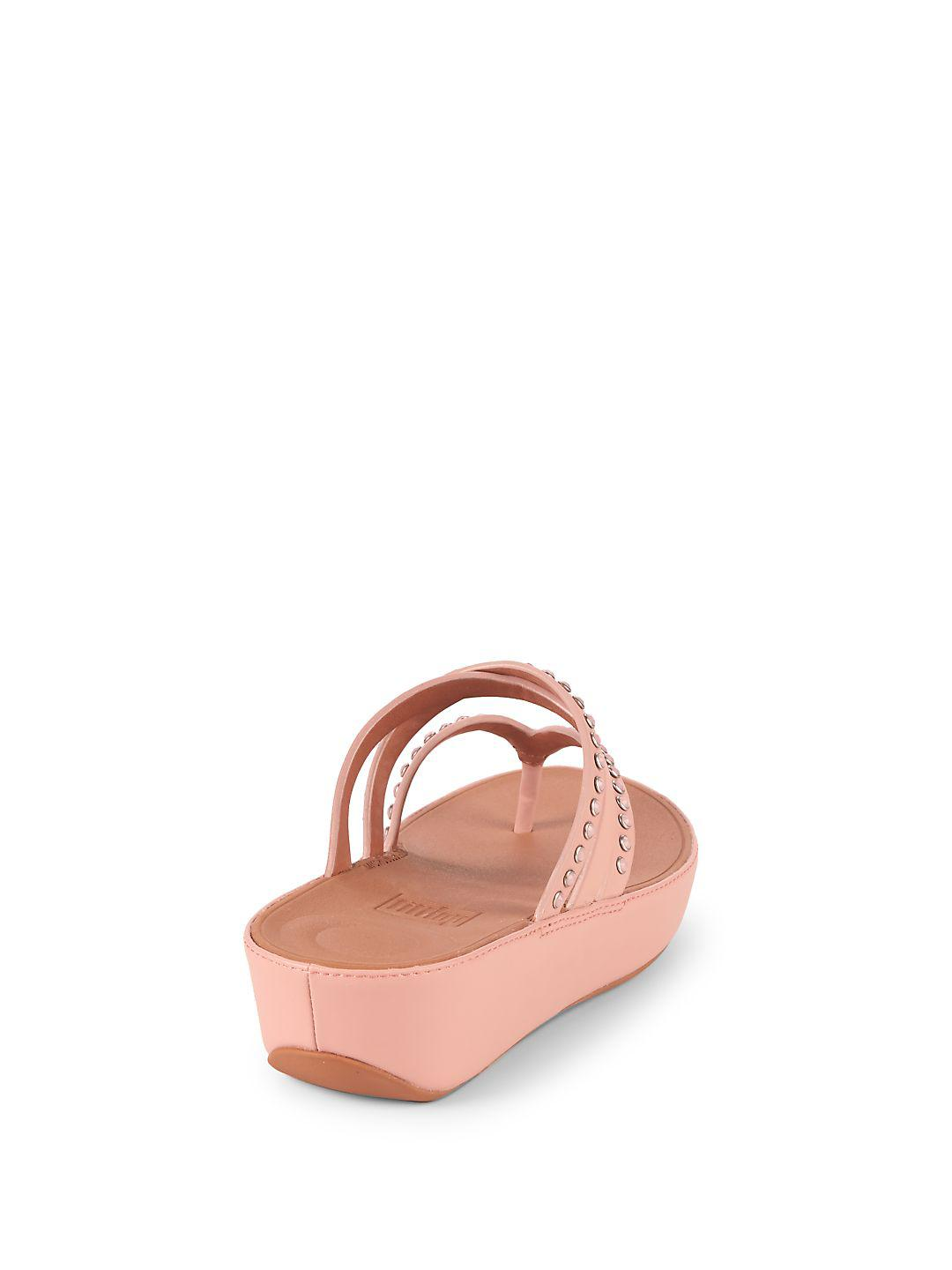 c10ba8e738e Lyst - Fitflop Linny Leather Flip Flops in Pink
