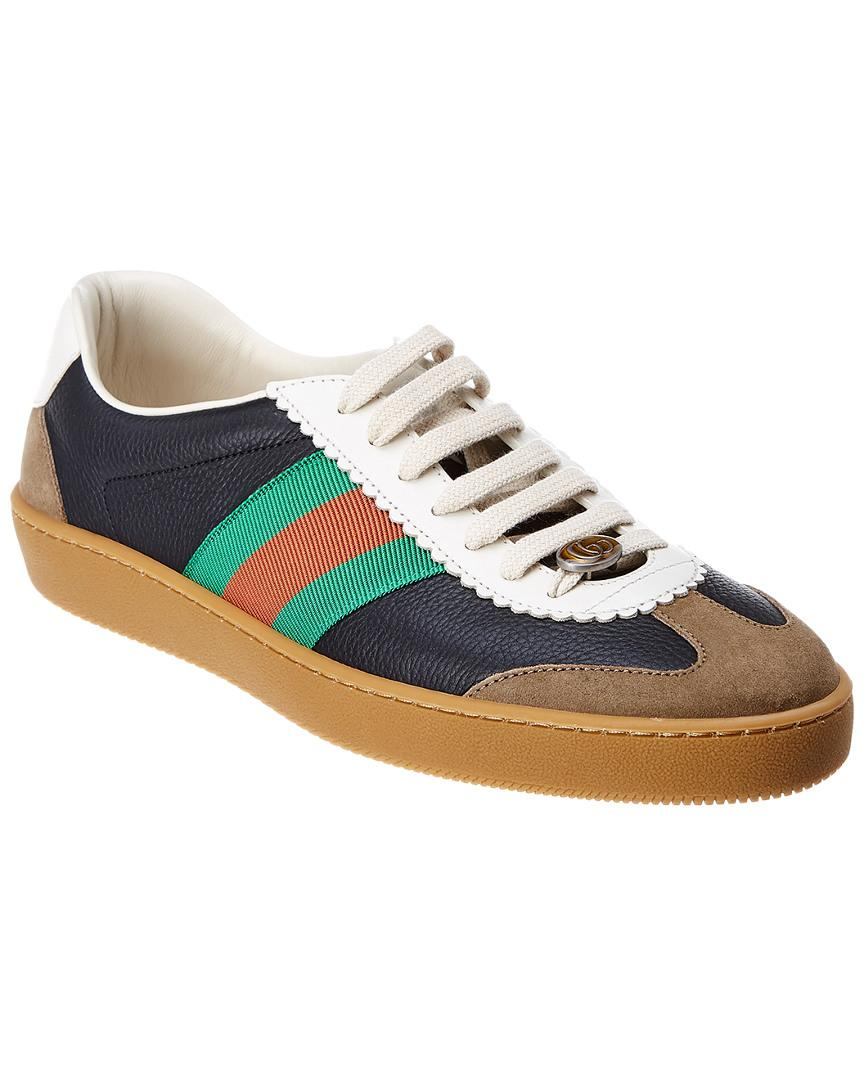 c81956fa212 Lyst - Gucci Web Leather   Suede Sneaker for Men