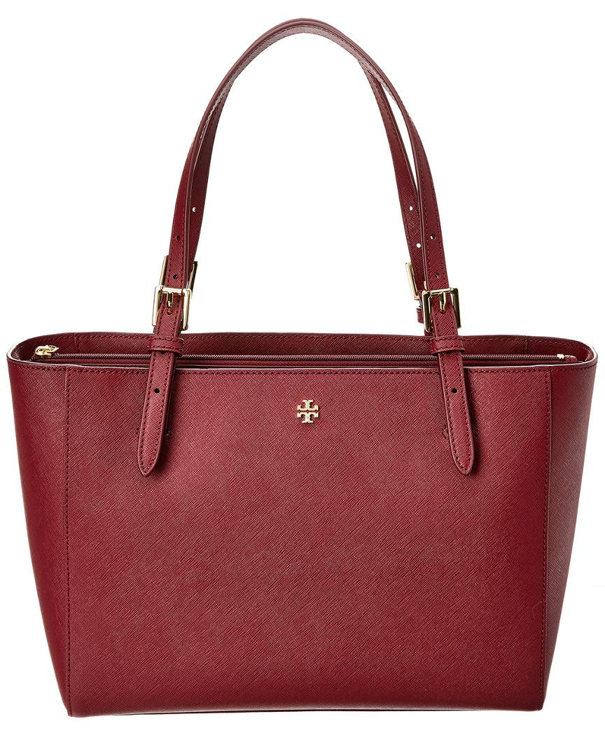 50b3b10eee13 Tory Burch Emerson Small Leather Buckle Tote - Lyst