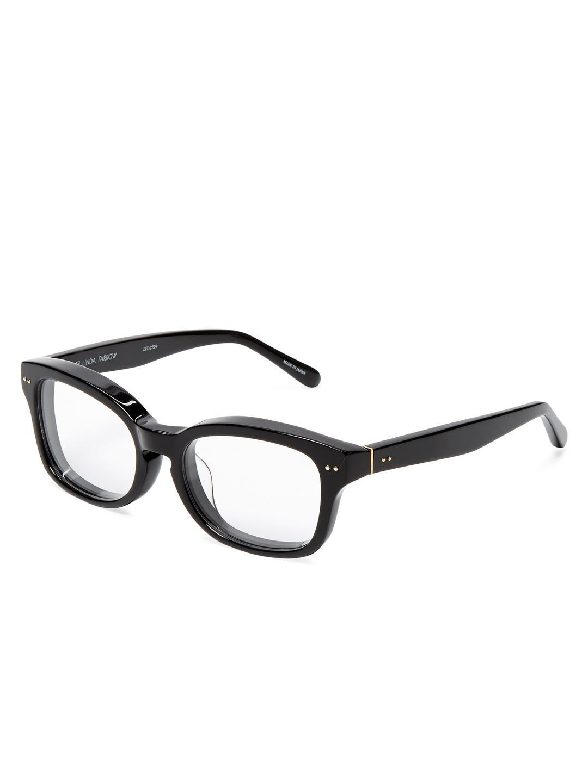 050715f90f09 Lyst - Linda Farrow 275 Thick Rectangular Keyhole Optical Frame in Black