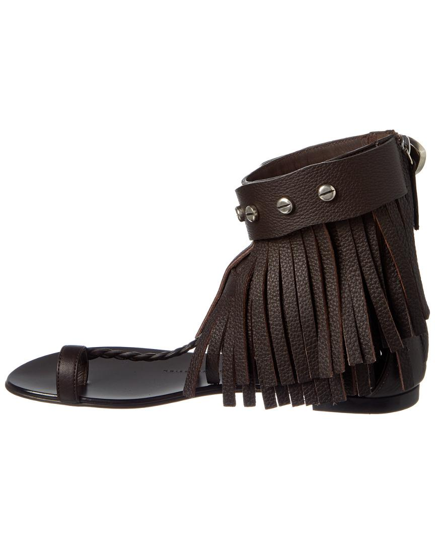 7f7b9eac0ff29d Lyst - Giuseppe Zanotti Sandals Lindos Leather Brown Fringe in Brown - Save  73%