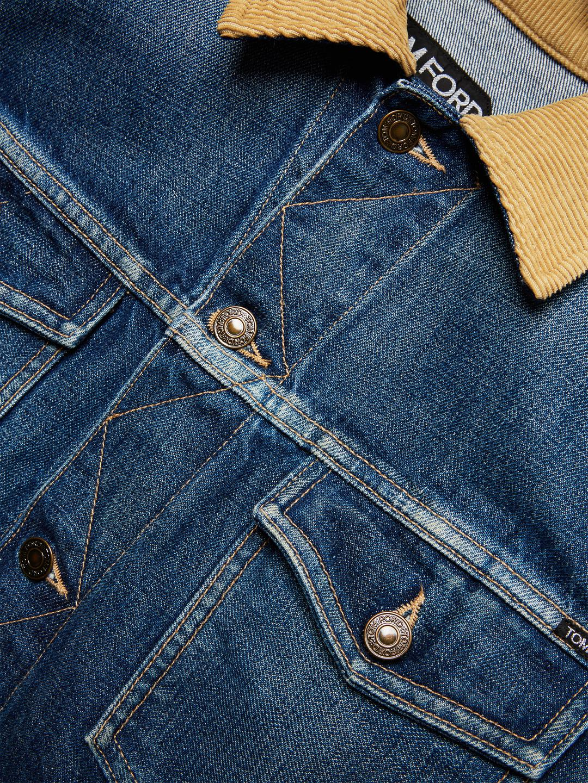 12283a67446 Tom Ford Corduroy Collar Denim Jacket in Blue for Men - Lyst