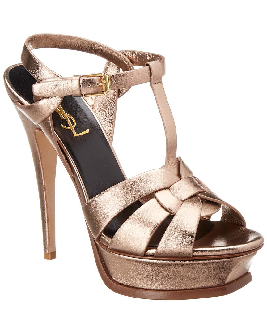 752f5e0577958f Lyst - Saint Laurent Tribute 105 Metallic Leather Sandal in Brown