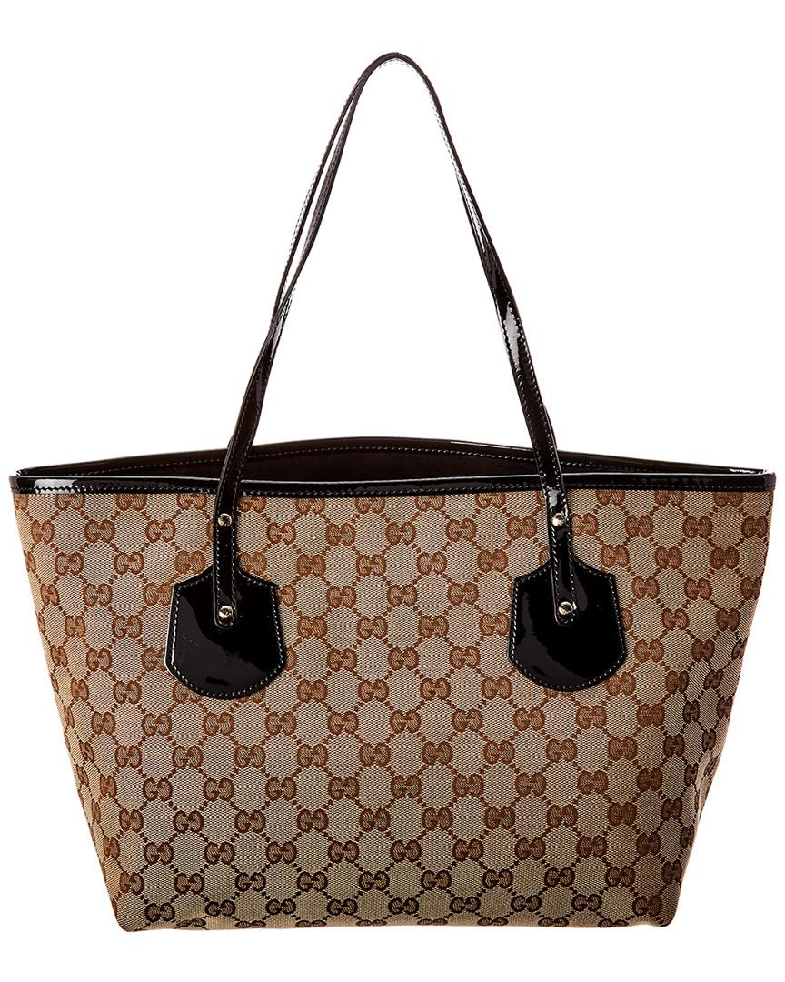 e37c45c749c3 Lyst - Gucci Black GG Canvas & Leather Jolie Tote