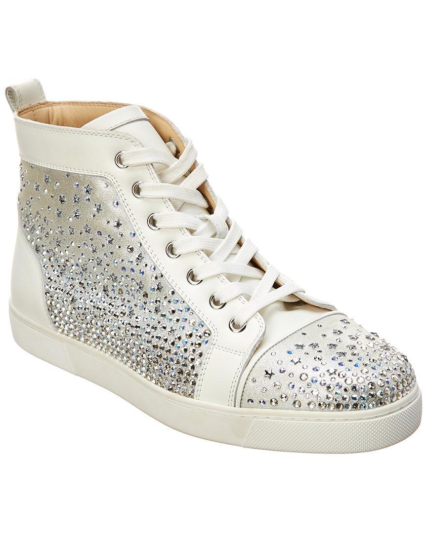 Leather Embellished Lyst Christian Sneaker Galaxtidonna Louboutin hrdBxtsCQ