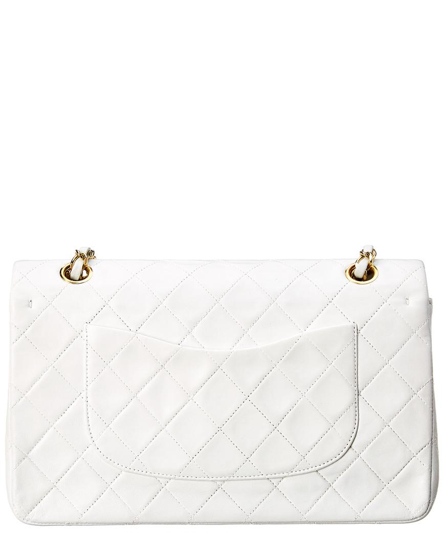88d9939256be15 Chanel White Quilted Lambskin Leather Classic Medium Double Flap Bag ...