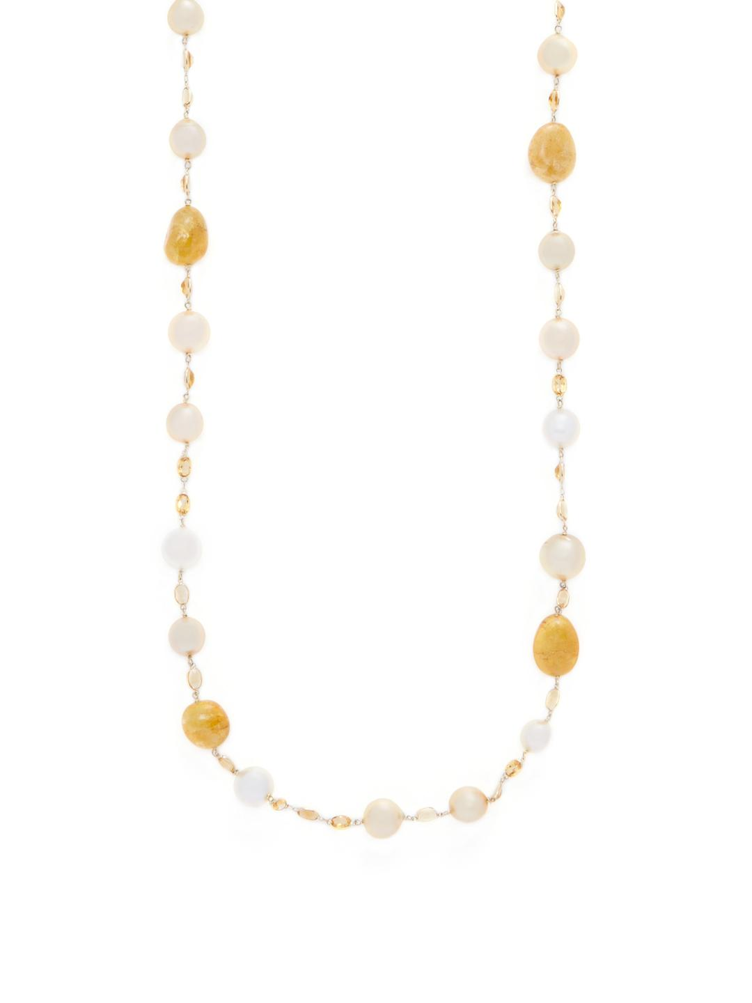 Belpearl 18k Golden South Sea Pearl Necklace w/ Citrine & Yellow Beryl 9UpHG6Kv