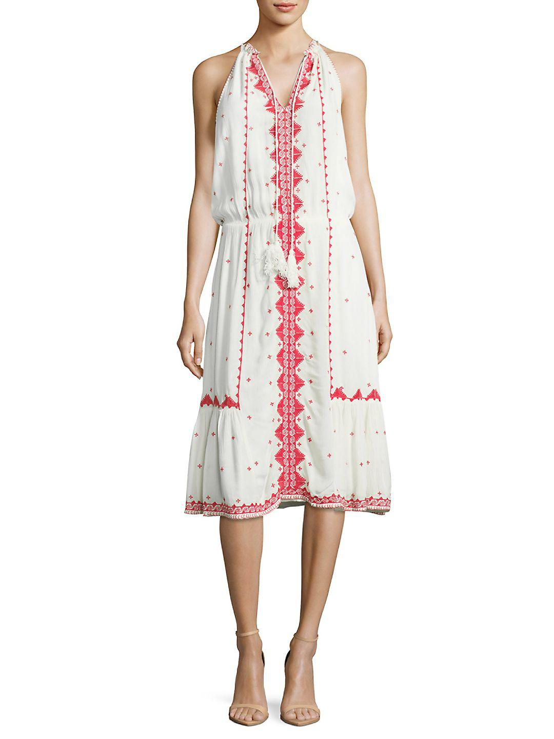 Lyst Parker Atlas Embroidered Midi Dress In White