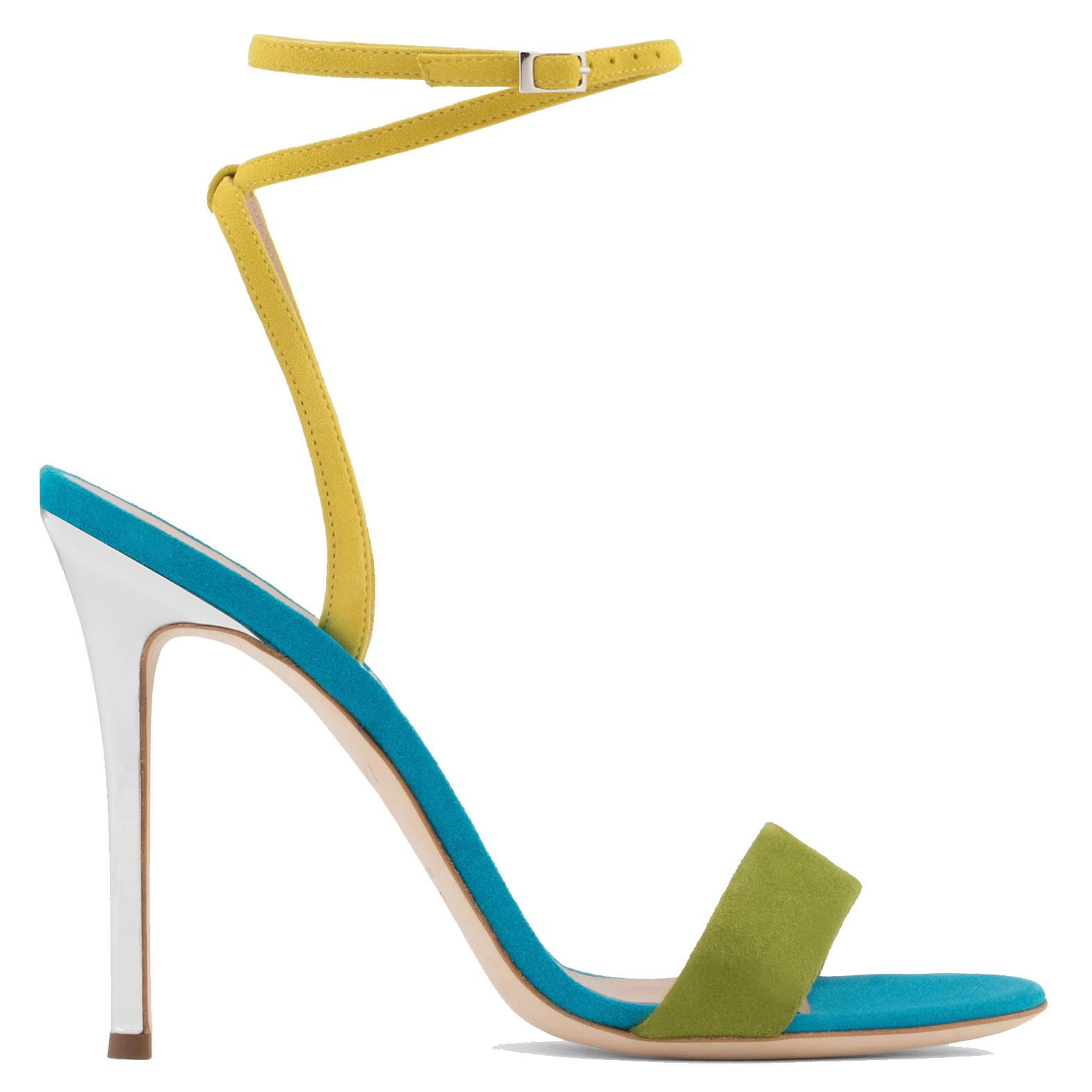 Giuseppe Zanotti Green and yellow suede sandal GEORGINA
