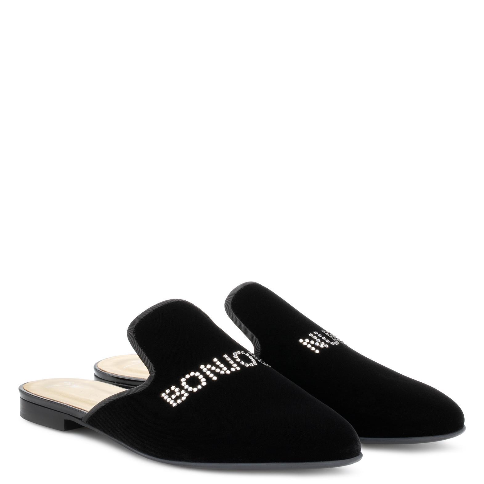 Giuseppe Zanotti Velvet flat slipper with 'Bonjour Nuit' motif BONJOUR NUIT