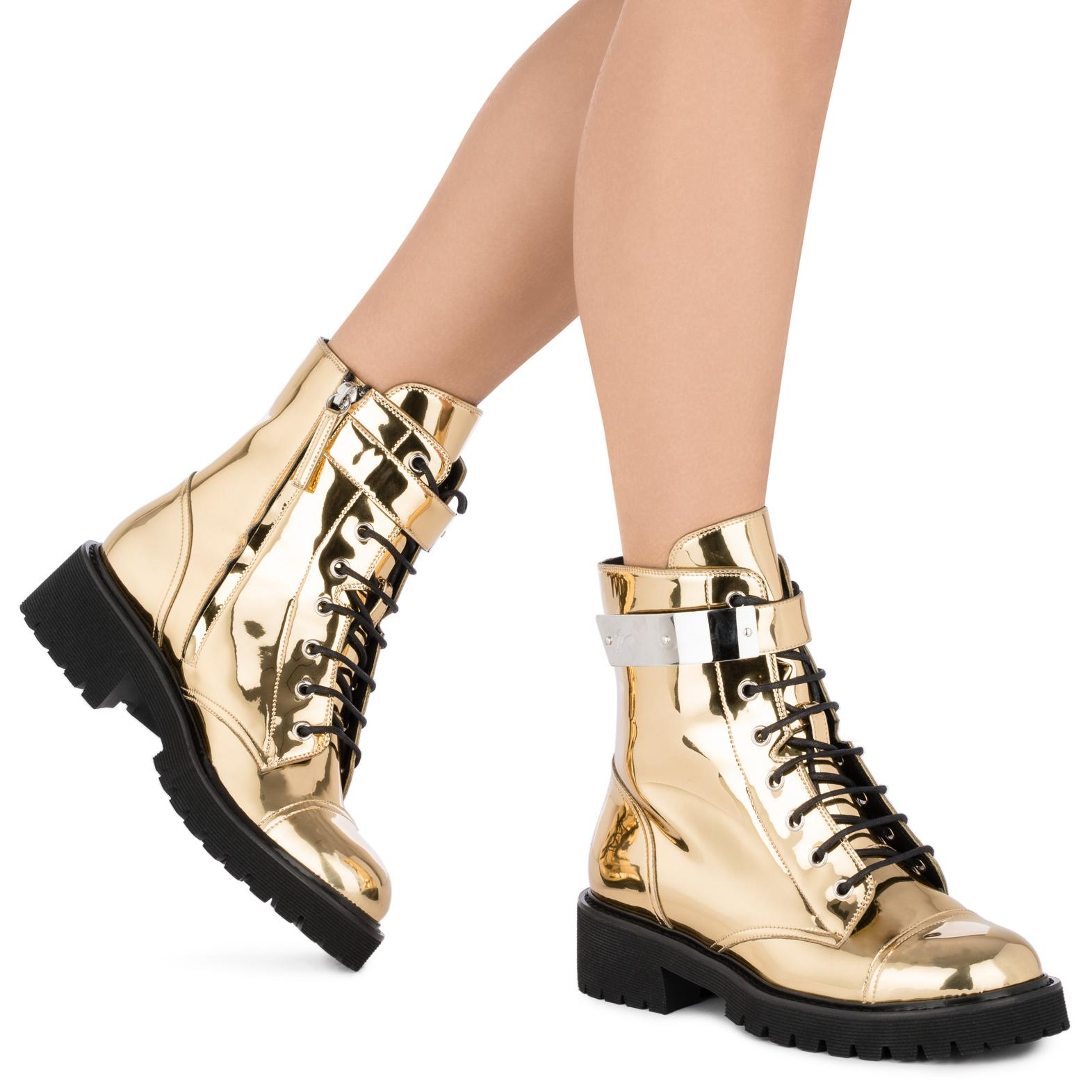 Giuseppe Zanotti Mirrored patent leather boot with plated-metal HARVEY UWPqe0Ge